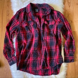 FADED GLORY MEN'S RED BLACK PLAID FLANNEL